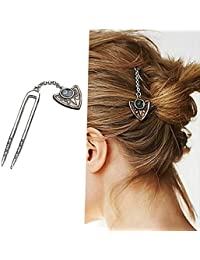 Ziory Vintage Golden Color Hair Combs Hair Pin Geometric Hair Sticks Hairwear For Girls And Women (Juda Pin)