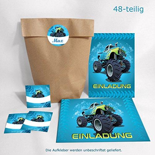 JuNa-Experten 12-er Set Einladungskarten, Umschläge, Tüten/Natur, Aufkleber Kindergeburtstag Monstertruck Jungen Geburtstagseinladungen Einladungen Geburtstag Kinder Kartenset Auto