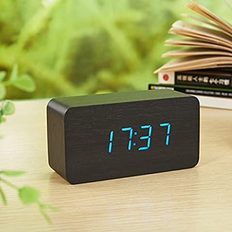 Silencio creativo perezoso luminiscentes y preciosa madera led moda reloj control de reloj electrónico,la luz añil negro