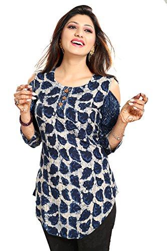 ALC Creation Women's tunic Floral Slim Fit Shirt  ALC2087_Sky Blue_Medium