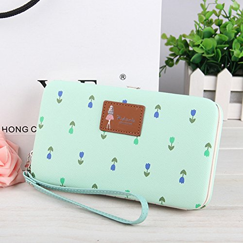 Ulisc Vintage Long Fashion Women Wallets Clutch Purse Wallet Female Card Holder Grass Green