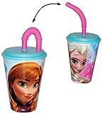 """Trinkbecher mit Strohhalm - """" Frozen - Disney die Eiskönigin """" - für Kinder - Kunststoff Kunststoffbecher - Becher Deckel"""