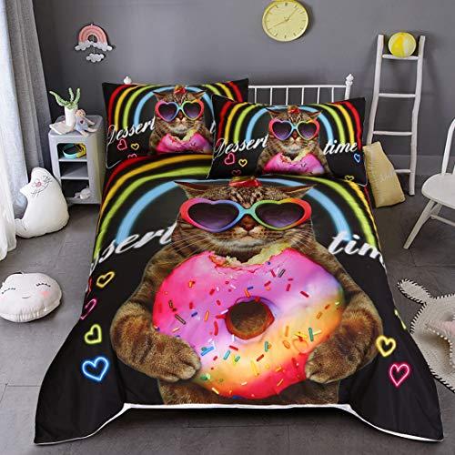 e Mikrofaser Polyester Baumwolle Pflegeleicht Reißverschluss Mehrfarbig Bettwäsche Beinhaltet 1 Bettbezug und 2 Kissenbezüge 3 Stück,Lucky cat,Queen:3PCS223X228CM ()