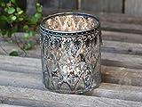 Chic Antique Teelichthalter Windlicht Kerzenglas groß Glas Bauernsilber Deko Landhaus Nostalgie Shabby French