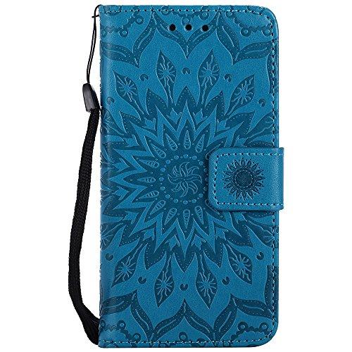 JIALUN-Telefon Fall Für Apple IPhone 7 Fall, mit Lanyard, Kartensteckplatz, Halterung, Magnetische Wölbung Sun Flower Flat Open Phone Shell ( Color : Blue ) Blue