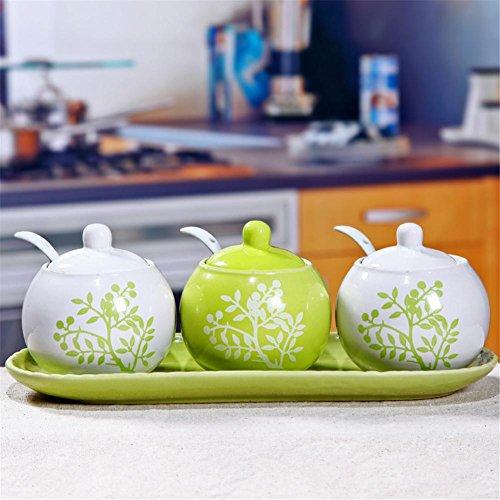 Gewürzdose Gewürzdosen Gewürzflasche Europäische Kreative Keramik Set von 3 Küche Supplies -250ml , 3