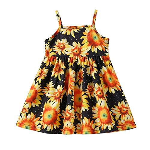 n Kinder Festliche Kleider Sommerkleider Princess Dress Blumendruck Schultergurt A-Line Midi Sommerkleid Strandkleid Kleider Outfit Set Pwtchenty Partykleid Kinderbekleidung ()