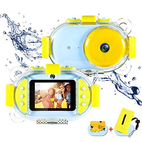 ROTEK Kinder Kamera, 2,4 inch IPS HD Bildschirm Kinderkamera 800W Pixel Dual Selfie 1080P Videofunktion Wasserdicht Spielzeug Digitalkamera Kinder 32GB Karte Digitalkamera Geschenk für Jungen Mädchen