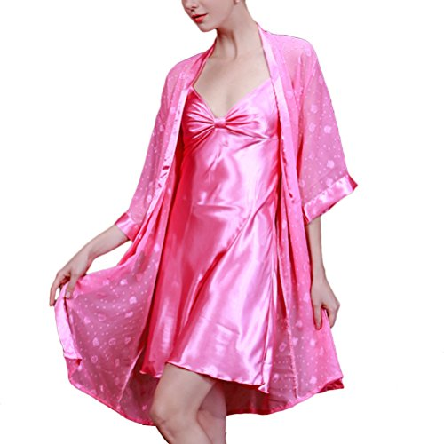 Zhhlaixing Fashion 7711 Women Ladies Long Satin Nightgown and Dressing Gown Set Rose Red