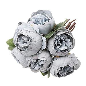 LANDUM Ramo de flores de seda artificial de 7 piezas, color gris y azul