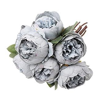 LANDUM Ramo de 7 Cabezas de Flores de Seda de peonía Artificial para decoración de Boda o jardín