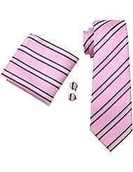 caofenvoo n-0295rosa hombres de corbata pañuelo gemelos Jacquard tejido de seda