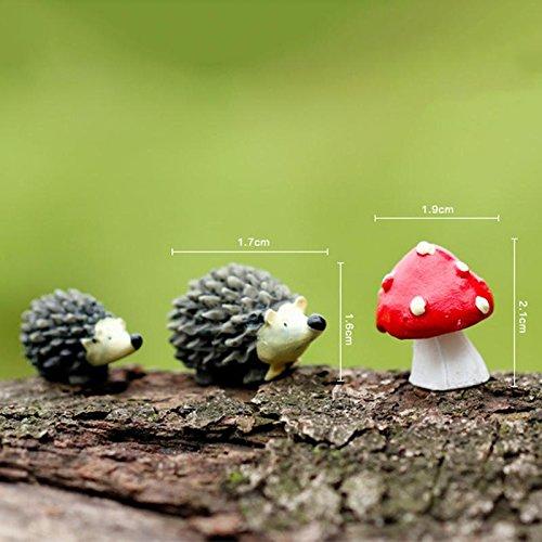 Hedgehog Garden - 3pcs Set Artificial Mini Hedgehog With Red Dot Mushroom Miniatures Fairy Garden Moss Terrarium Resin - Statue Decoration Ornaments Garden Homes Figurines Hedgehog Decor Flag -