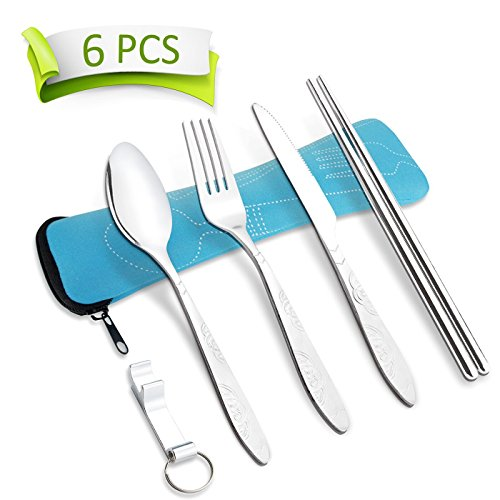 AckMond Stainless Steel Travel, Camping Cutlery Set (Blue)