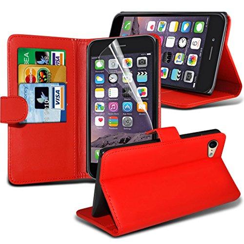 Fone-Case Red Apple iPhone 6S Plus étui Cover Case Portefeuille exécutif Cover style Made De PU cuir avec 3 fentes de crédit titulaire de la carte, 1 Protecteur d'écran et 1 code couleur aluminium rég Red Wallet Case