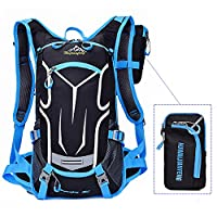 Cycling Backpack Waterproof Bike Shoulder Bag Lightweight Outdoor Sports MTB Riding Backpack Hydration Compatible for Hiking Running Camping with Rain Cover 18L (Blue)