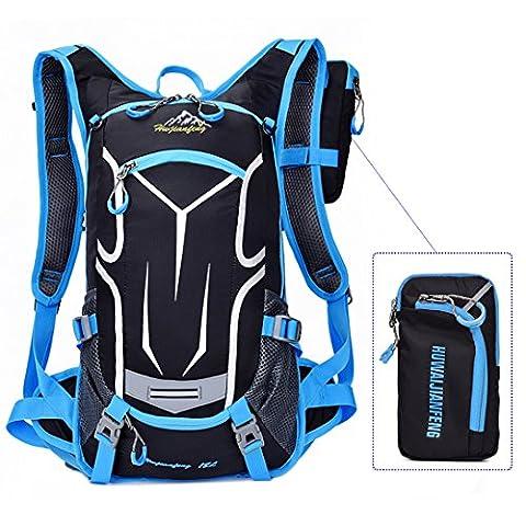 Sport Sac à Dos Imperméable pour extérieur Sac à bandoulière léger Cyclisme VTT d'équitation sac à dos Compatible avec système d'hydratation pour randonnée course à pied Camping avec housse de pluie 18L, bleu,