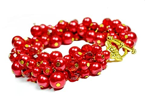 GEMSTONERIVER Red Pearl & Ruby Red Crystals Cluster Bracelet & Tibetan Silver - Designer Chunky Statement Mother's Day Gift Hen Party Valentine Wedding Prom Cocktail Party Jewellery
