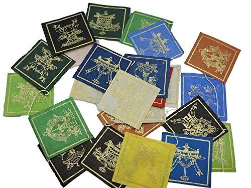 Mains de Tibet Papier fait main Mini Huit symboles de bon augure Drapeaux de prière de 25