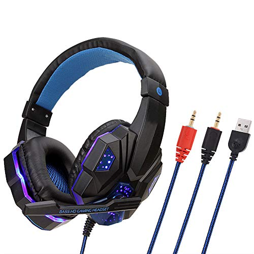 K1Pro Stereo Gaming Headset für PS4, PC, Xbox One, Mac, Nintendo Switch 【50 mm Treiber】【3D Surround Sound】 Over-Ear Kopfhörer mit Rauschunterdrückung Mikrofon Blau blau -