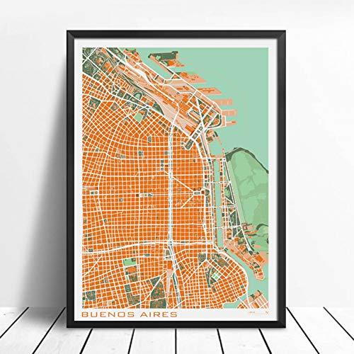 JJHR Bild Auf Leinwand Canvas Prints16 Berühmte Stadt Karte Poster Und Print Wandkunst Leinwand Malerei Karte Für Wohnzimmer Wohnkultur