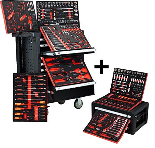 BigBoy V2 Werkstattwagen Werkzeugkiste Kombination - gefüllt mit Handwerkzeug | 10 Schubladen - 8 bestückt | Bit Sets, Ratschen, Nüsse und vieles mehr...