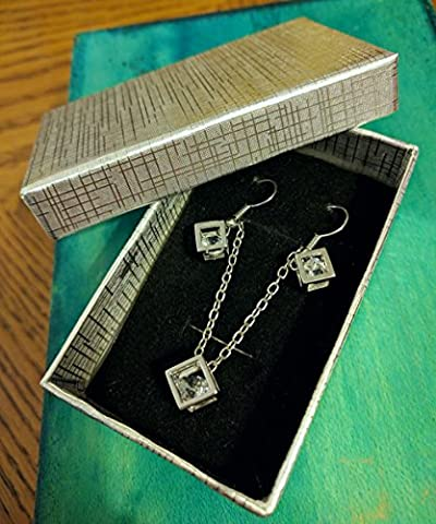 Cube Pandora Box Style Silver gift box with Sliver cube earrings & necklace Set Gift Box Pendant Necklace Diamond Jewellery Vintage Hot Fashion Trend Ladies Jewelry (Silver gift box with Sliver cube earrings & necklace
