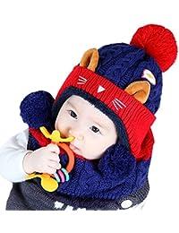 f0e41a14bcc9 Elonglin Unisexe Bébé Enfant Coiffe d hiver Chaud Chapeaux Tricoté+écharpe  2 Pièces Ensemble