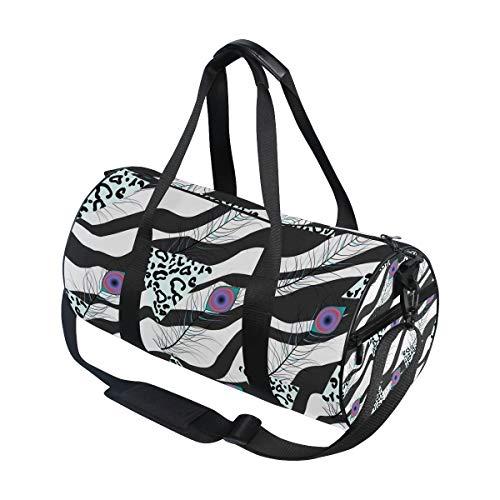 Hunihuni Sporttasche mit Leopardenmuster und Pfauenfedern