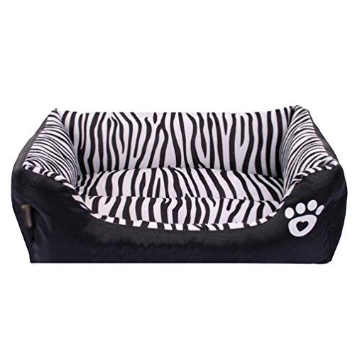 Lvrao cuccia per animali lavabile casette per cani, gatti rettangolare divano, letto dell'animale domestico (zebra, 68*55*16cm)