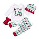 Overdose 4pcs Baby Mädchen Jungen Weihnachtskostüm Langarm Brief Top Strampler + Plaid Hosen + Stirnband +1PC Kappe Weihnachten Outfits Kleidung Satz, White, 0-3 Monate