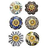 Pomos y Tiradores Vintage - Perillas Decorativas Multicolores para Gabinetes Florales - Manija de Acero de...