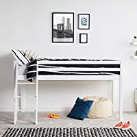 VonHaus Wooden Mid Sleeper Bed Frame – Stylish 3FT Single Solid Pine Bed - Maximise Floorspace (Mattress not included)