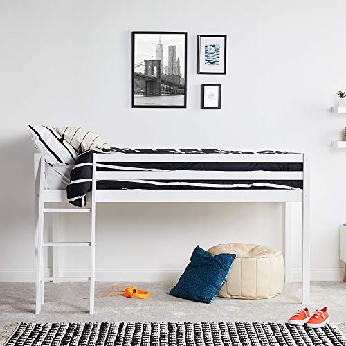 7170636fd4fa VonHaus Wooden Mid Sleeper Bed Frame – Stylish 3FT Single Solid Pine Bed -  Maximise Floorspace