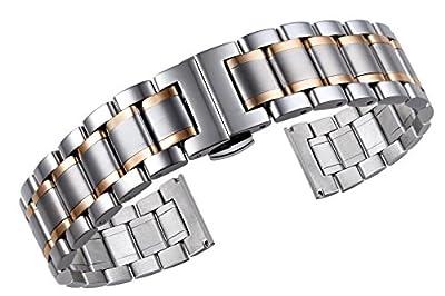 lujoso 316l dos de plata tono de 17mm de la mujer y se levantó pulseras de reloj de acero inoxidable de metal de oro de las correas de cierre de extremo recto de liberación rápida