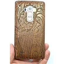 RoseFlower® LG G4 Funda de Madera - Flores de nuez - Natural Hecha a mano de Bambú / Madera Carcasa Case Cover con GRATIS Protector de Pantalla para tu Smartphone