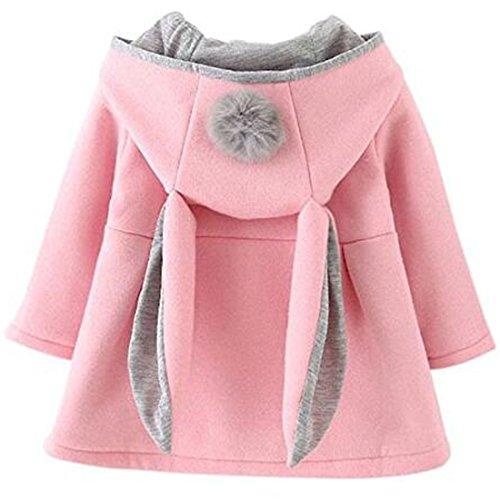 ARAUS-Baby Mädchen Mäntel aus Baumwolle Frühlung Herbst Winter Jache mit Kapuze Kleinkinder Warm Kleidung Pink 90