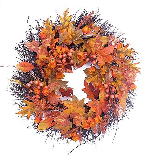 Halloween Weihnachtskranz Deko Girlande DIY Herbstkranz Tannengirlande Girlande mit Kürbis Beeren Künstlich Blumen Türkranz Deko für Herbst Thanksgiving Weihnachten Party