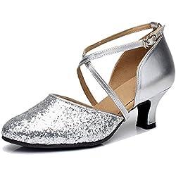 Byjia Damen Sequin Cross Strap Leder Hochzeit Ballsaal Latin Taogo Dance Pumps Schuhe . Silver . 39