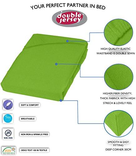 Double Jersey - Spannbettlaken 100% Baumwolle Jersey-Stretch bettlaken, Ultra Weich und Bügelfrei mit bis zu 30cm Stehghöhe, 160x200x30 Lime - 3