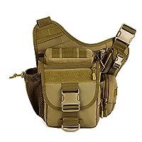 Multi-functional Tactical Messenger Bag Shoulder Sling Bag MOLLE Backpack Luggage (Brown)