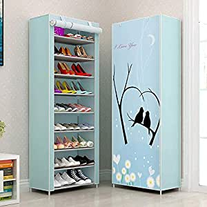 Sterling Shoe Racks for Home, Shoe Rack with Cover 9 Layer Multipurpose Shoes Stand for Shoe Storage Organizer Cabinet Check Plastic Material
