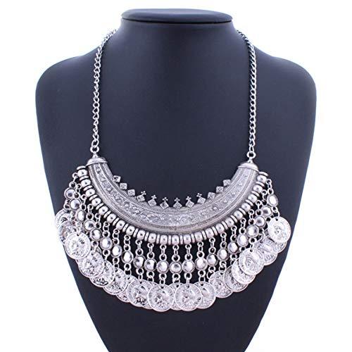 Geschnitzt Ball (AISHIPING Boho Kleine Perlen Ball Münze Quaste Halsketten Anhänger Vintage Ethnische Geschnitzte Aussage Halsketten Für Frauen Tribal Schmuck)