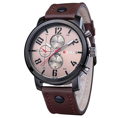 Souarts Herren Schwarz Retro Stil Kunstleder Armbanduhr Quartzuhr Uhr mit Batterie (Braun)