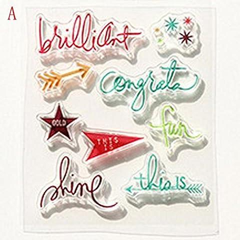 Gaddrt Beaucoup de modèles DIY transparent tampon en caoutchouc sceau artisanat scrapbooking Decor (a)