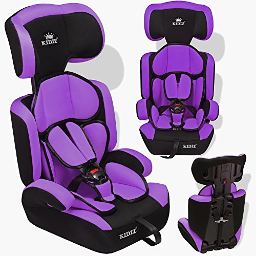 Kidiz ® Autokindersitz Kinderautositz ✓ Gruppe 1+2+3 ✓ 9-36 kg ✓ Autositz ✓ Kindersitz | Stabil und Sicher | Farbe: Lila