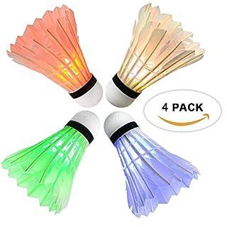 Rixow LED Badminton, Federbälle Beleuchtun,Federball Shuttlecock für Outdoor en Indoor Sportsaktivitäten,4 Stück(4 Farben) (4er-Pack)