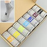 Reiner's Baumwoll Socken Socken für Paare, Männer und Frauen, personalisierte Socken, allen Code (37-44), das heißt, ein helles Grau - (7 Dual Combo)