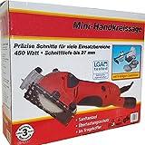 Batavia Mini Handkreissäge Tauchsägen Set - 450W - mit 9 teiligem Zubehör im praktischen Koffer (max. 27mm - 24 TCT Blatt, 2x Diamantblatt, 2x HSS Blatt, Parallelanschlag, Adapter, Koffer) -