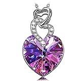 Kate Lynn Damen Collier Halskette Herz zu Herz Anhänger mit Bermuda Blau Swarovski Kristalle Schmuck zum Geburtstag Jubiläum Valentinstag Mutter Frau Tochter Mädchen Sie